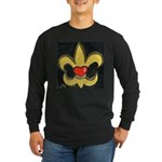 Valentines & Fleur de Lis Long Sleeve Dark T-Shirt