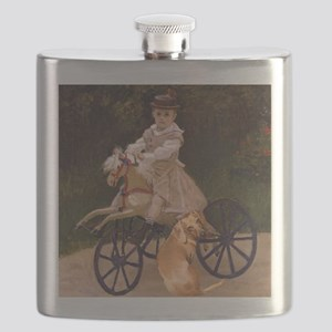 tiger lil girl tri 16x16 Flask