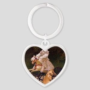 tiger lil girl tri 16x16 Heart Keychain