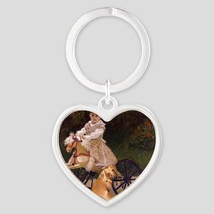 tiger lil girl tri 16x12 copy Heart Keychain