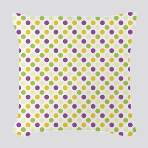 Colorful Polka Dots Woven Throw Pillow