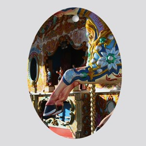Merry Go Round PINK HORSE Oval Ornament