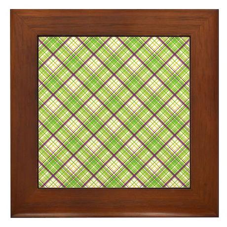 Green And Purple Crosshatch Framed Tile