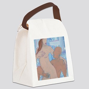 lovers painting panel print Canvas Lunch Bag