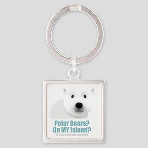 polar black Square Keychain