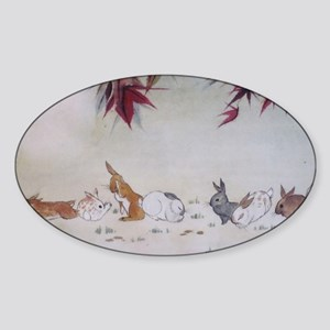 Rabbit Nap Sticker (Oval)