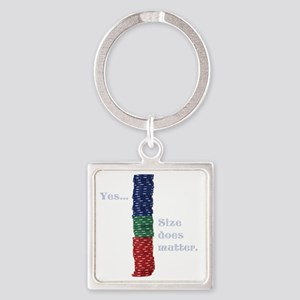 Size does matter poker graphic Square Keychain