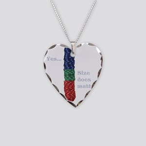 Size does matter poker graphi Necklace Heart Charm