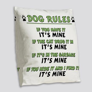 Dog Rules Burlap Throw Pillow