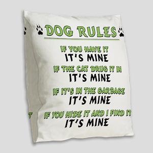 Dog Rules Burlap Throw Pillow