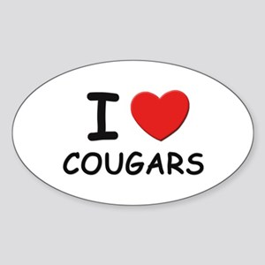 I love cougars Oval Sticker