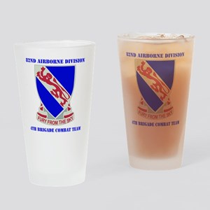 DUI- 892ND AIRBORNE-4BCT WITH TEXT Drinking Glass