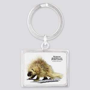 North American Porcupine Landscape Keychain