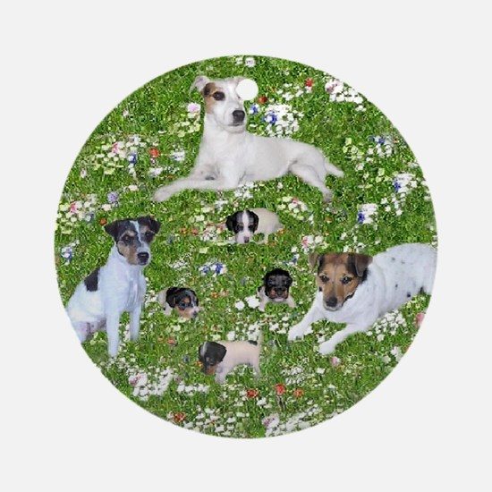 PUPPY PLAYTIME IN THE PARK BLANKET Round Ornament