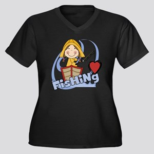 GIRLLOVEFISH Women's Plus Size Dark V-Neck T-Shirt