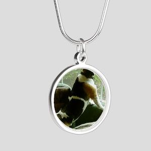 Window gazing Silver Round Necklace
