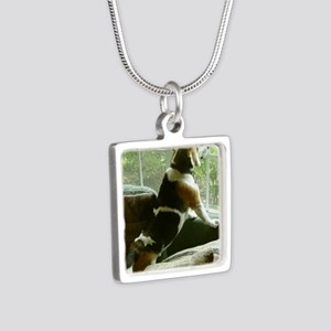 Window gazing Silver Square Necklace
