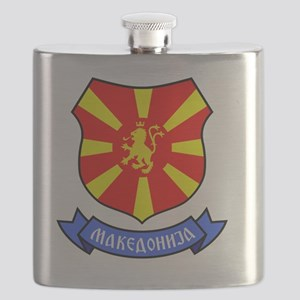 Macedonia Lion Crest Crown Badge Flask