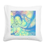 Blue Angel Abstract Fractal Square Canvas Pillow