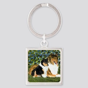Rough Collie Mom Square Keychain