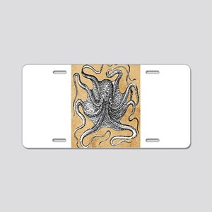 Victorian Octopus on Parchment Aluminum License Pl