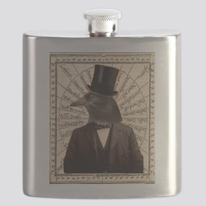 Victorian Steampunk Crow Man Altered Art Flask