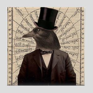 Victorian Steampunk Crow Man Altered Art Tile Coas