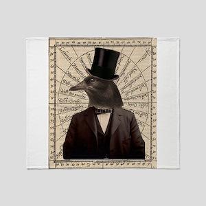 Victorian Steampunk Crow Man Altered Art Throw Bla