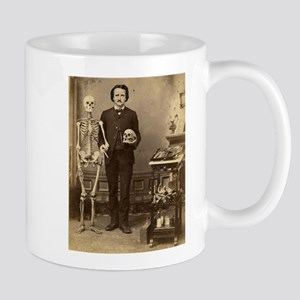 Edgar Allan Poe Victorian with Skeleton Skull Mugs
