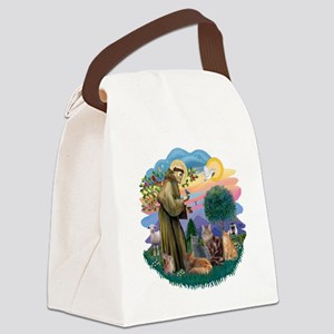 St Francis (ff) - Rev 2 - 4 cats Canvas Lunch Bag