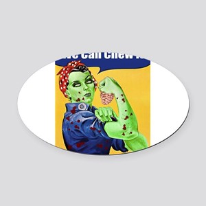 Zombie Rosie the Riveter We Can Chew It Oval Car M
