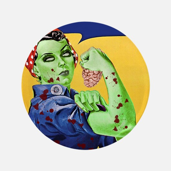 """Zombie Rosie the Riveter We Can Chew It 3.5"""" Butto"""