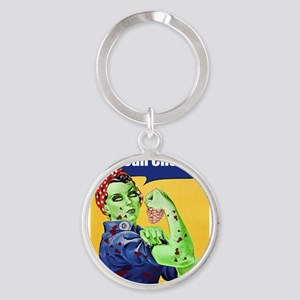 Zombie Rosie the Riveter We Can Chew It Keychains