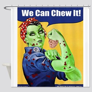 Zombie Rosie the Riveter We Can Chew It Shower Cur