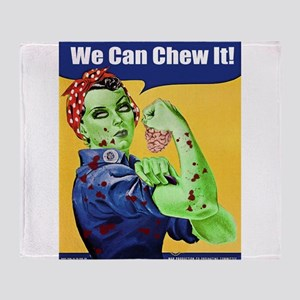 Zombie Rosie the Riveter We Can Chew It Throw Blan