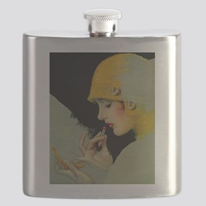 Art Deco Roaring 20s Flapper With Lipstick Flask