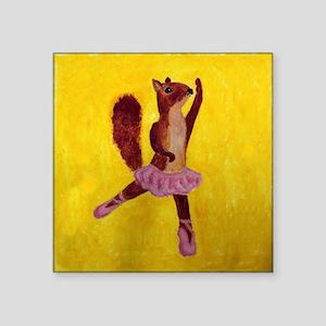 "Ballet Squirrell Square Sticker 3"" x 3"""