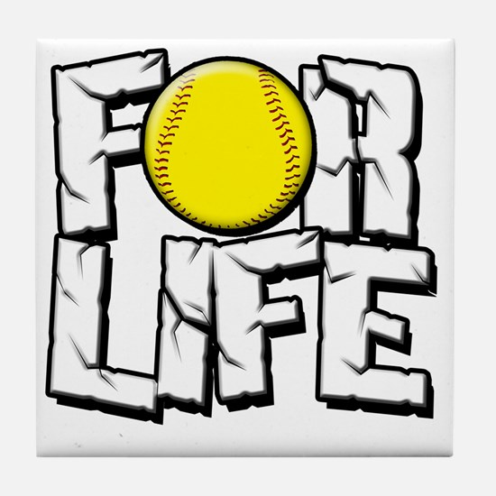 For Life Softball Tile Coaster