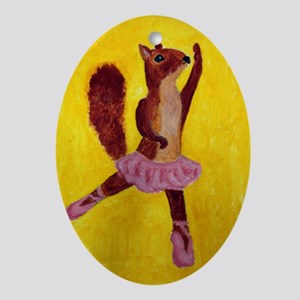 Ballet Squirrell Oval Ornament
