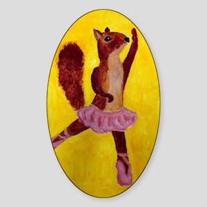 Ballet Squirrell Sticker (Oval)