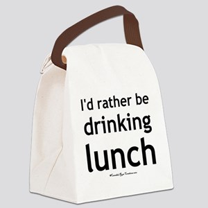 drinkinglunch_sq Canvas Lunch Bag