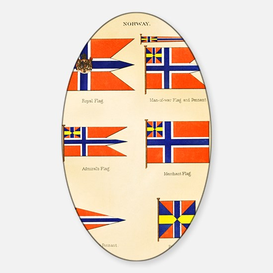 Maritime Flags of Norway circa 1876 Sticker (Oval)