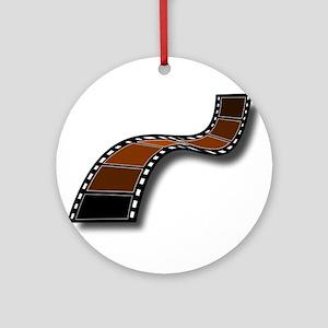 Brown Movie Filmstrip Ornament (Round)