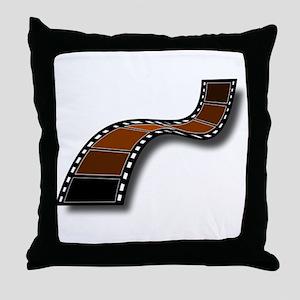 Brown Movie Filmstrip Throw Pillow