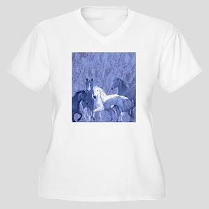 blue horses desig Women's Plus Size V-Neck T-Shirt