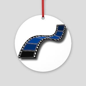 Blue Movie Filmstrip Ornament (Round)