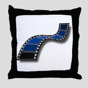 Blue Movie Filmstrip Throw Pillow