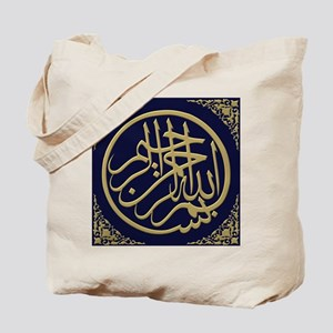 bismillah_gold_filla_on_blue Tote Bag