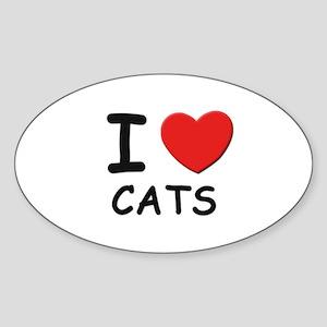 I love cats Oval Sticker