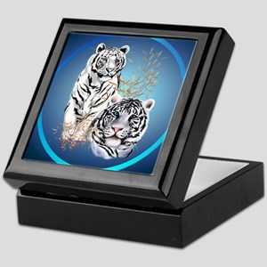 White Tigers -circle Keepsake Box